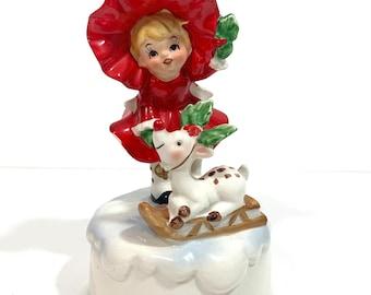 Christmas Girl in Red Reindeer on Sled Figurine Jingle Bells Music Box Made in Japan