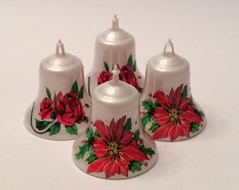 Plastic Christmas Bell Ornaments Vintage Christmas Decorations Decor Bell Shape Ornament Christmas Flowers Set of Four