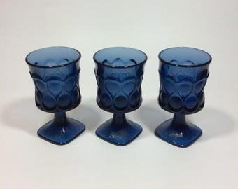 Vintage Noritake Spotlight Blue Wine Glasses MCM Barware Set of 3