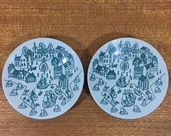 Nymolle Art Faience Old Port Town Saucer Small Plate Paul Hoyrup Jorgensen Limited Edition Collectible Dish Set of Two