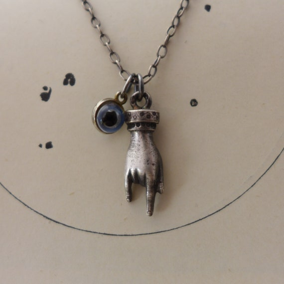 Vintage Evil Eye Charm Horn Cornutto Necklace
