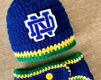 Notre Dame Baby Boy Newborn Hat Beanie Cap and Diaper Cover Baby Shower  Gift Coming Home Outfit Knit Crochet College Football 1f9d4cc72996