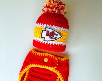 c6f73ea0de4380 Chiefs Hat Baby Boy Hat Newborn Hospital Cap Beanie Football Diaper Cover  Bottoms Set Baby Shower Gift Crochet Knit Coming Home Outfit