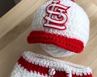 1de3ccc9196 Cardinals Baby Boy St. Louis Navy Red Crochet Knit Newborn Hospital Hat  Diaper Cover Baseball Photo Prop Baby Shower Gift Coming Home Outfit