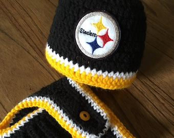Pittsburgh Steelers Boy Football Newborn Hospital Hat and Diaper Cover Set  Baby Shower Gift Crochet Knit Coming Home Outfit 27f51aed3