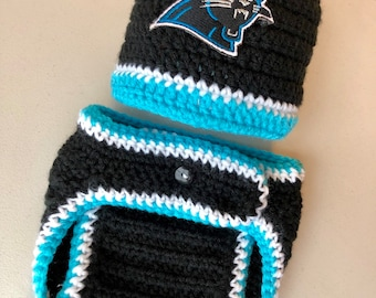 Carolina Panthers Boy Football Newborn Hospital Hat and Diaper Cover Set  Baseball Hat Style Baby Shower Gift Crochet Knit Coming Home Outfit a2c787f08