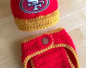 fb90e40d2c2 49ers Baby Boy Hat Newborn Football Hospital Hat Cap and Diaper Cover Set  Baby Shower Gift Crochet Knit Coming Home Outfit