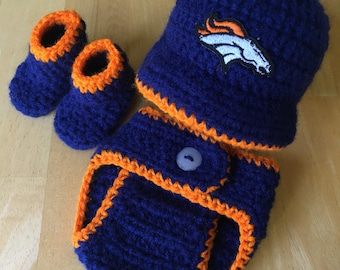 132695bc4 Denver Broncos Baby Hospital Newborn Boy Hat Cap Beanie Diaper Cover Set  Baby Shower Gift Crochet Knit Coming Home Outfit Baby Shower Gift