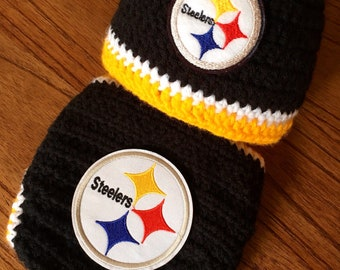 04ccd5a39db Steelers Baby Boy Hat Hospital Hat Football Newborn Hat and Diaper Cover  Set Baby Shower Gift Crochet Knit Coming Home Outfit