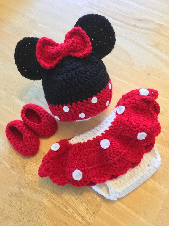 Minnie Mouse Newborn Girl Red Disney Hat And Diaper Cover Set Etsy