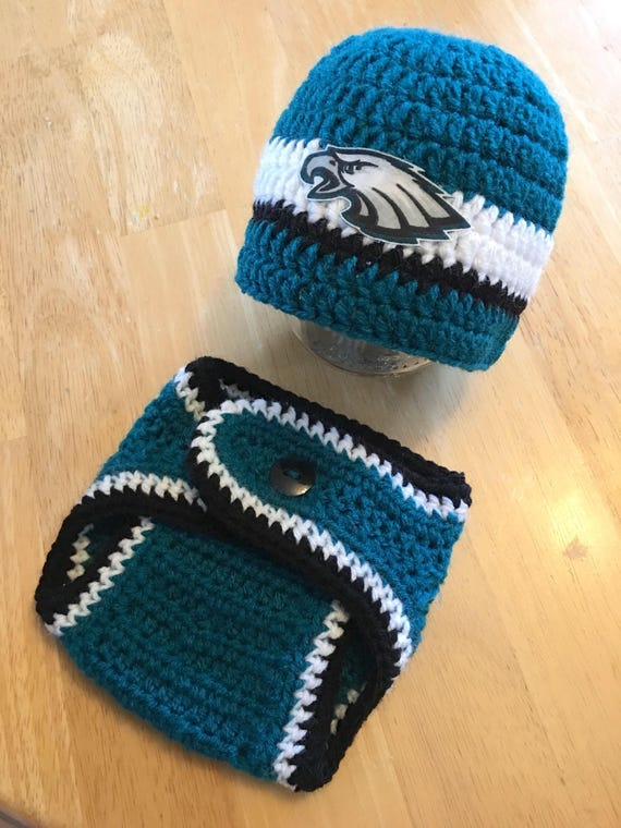 buy online 92156 5c0c9 Newborn Baby Boy Philadelphia Eagles Football Hat and Diaper Cover Set Baby  Shower Gift Crochet Knit Coming Home Outfit