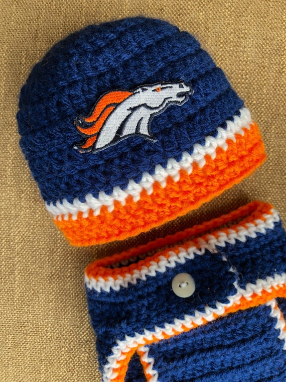 01b2005f2 Denver Broncos Boy Football Newborn Hat and Diaper Cover Set