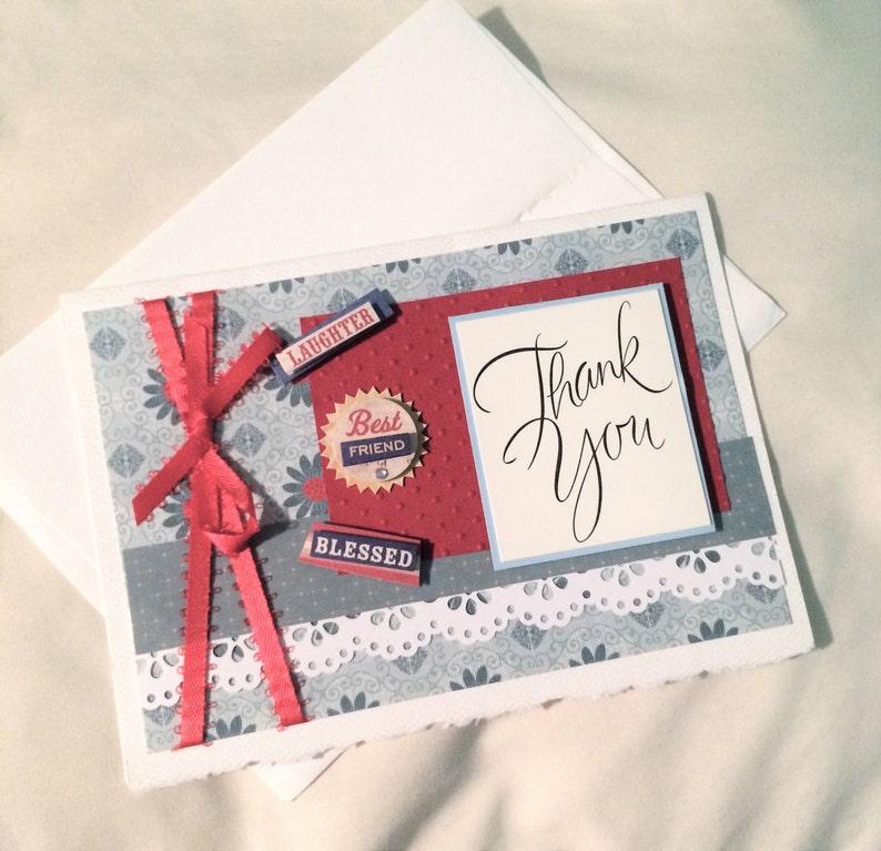 Thank You Card Handmade Card Scrapbook Card Greeting Card image 0