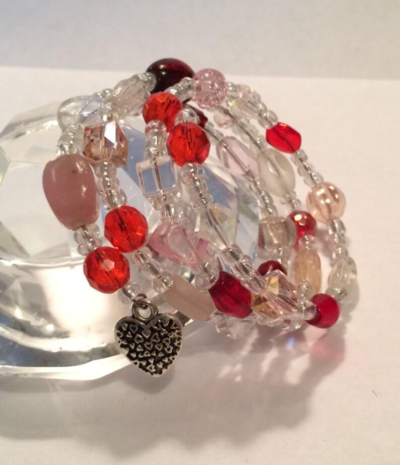 Beaded Bracelet Memory Wire Bracelet Valentine's image 0