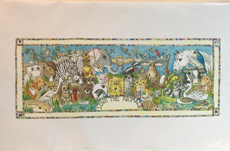 Animal Drawing Print Nursery Art Print Artwork Colored image 0