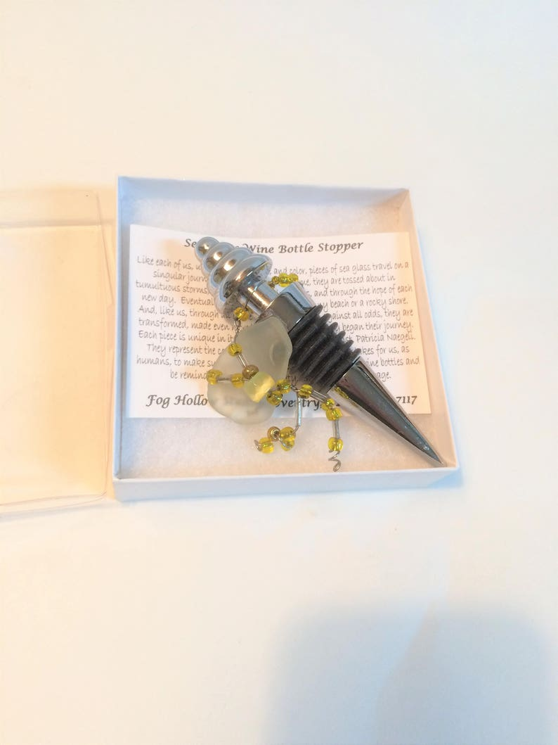 Wine Bottle Stopper Wrapped Seaglass Decorated Seaglass image 0