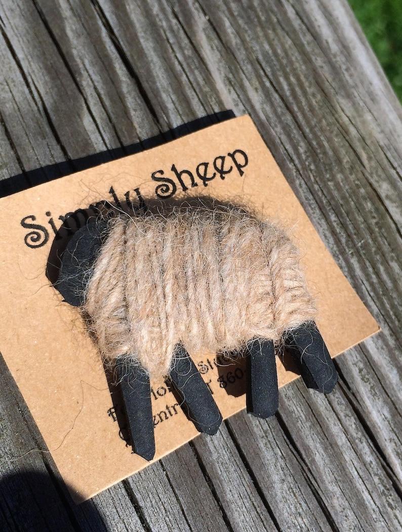 Sheep Pin Wool Pin Wool Wrapped Sheep Pin Lapel Pin image 0