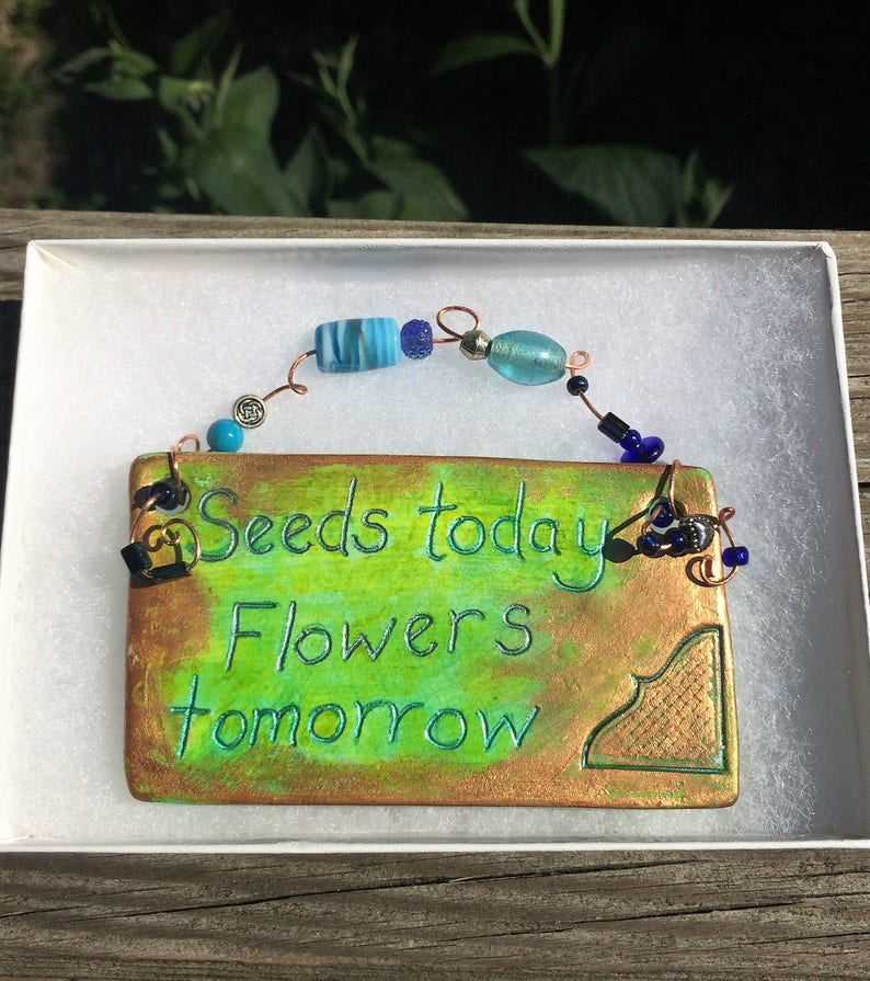 Clay Plaque Whimsical Decorative Plaque Gift for Her image 0
