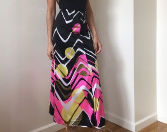 70s Circle Moon Print Disco Maxi Skirt