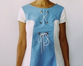 Sears Blue and White Tie Up Dress (Size 11, S)