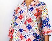 ILGWU Printed Checkered Blouse (M)
