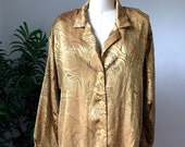 Golden Abstract Leaf Print Blouse (Large/X-Large)