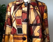 Harve Bernard Brown Tribal Jacket (Size 10P)
