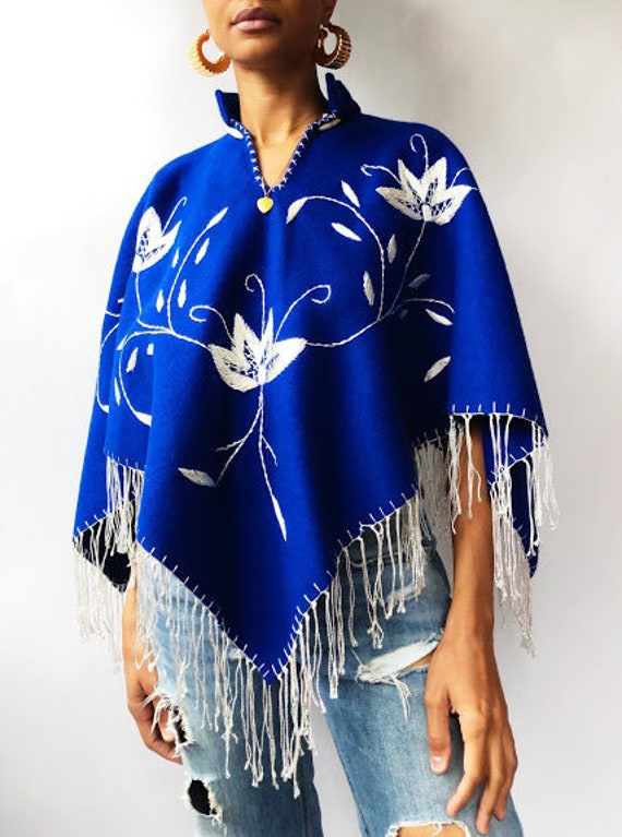 Royal Blue Embroidered Poncho (One Size)