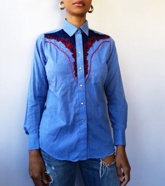 70s Rockmount Ranch Wear Chambray Blouse (M/L)