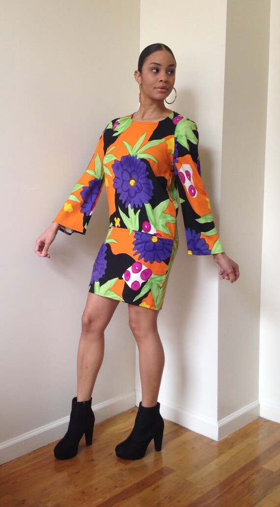 Vtg Bold Floral Print Dress - Tunic Top