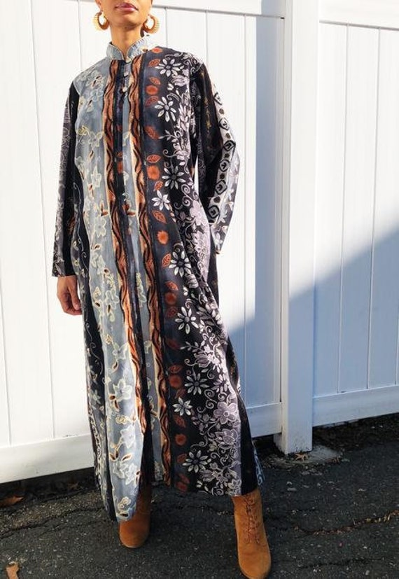 Ruth Norman Neiman Marcus Earth Tone Floral Caftan