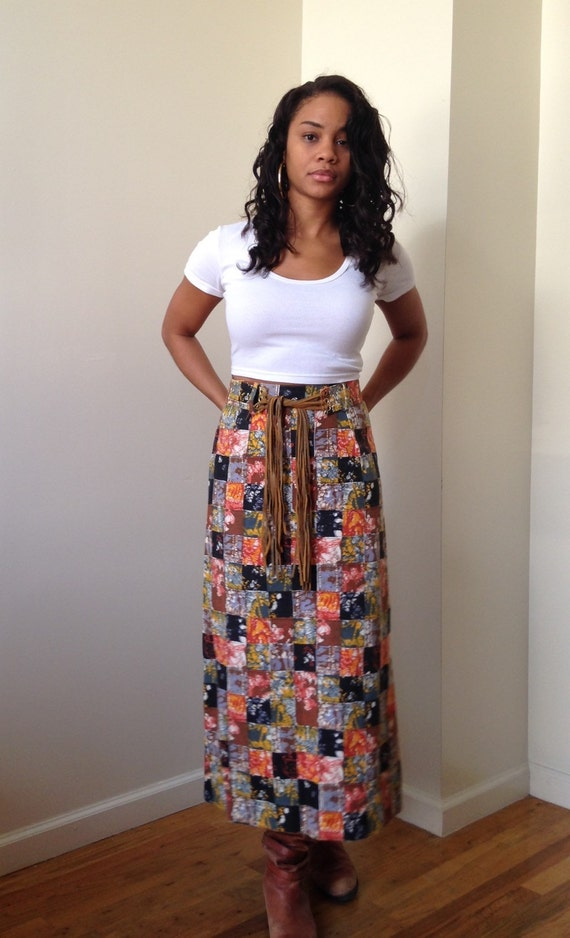 70s Boho Chic Patchwork Abstract Maxi Skirt