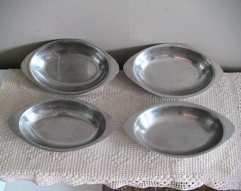 4 Casserole Dishes, Stainless Steel, Retro, Four, Kitchen, Au Gratin, Vintage, Casserole, Deep Creek Shabby Decor