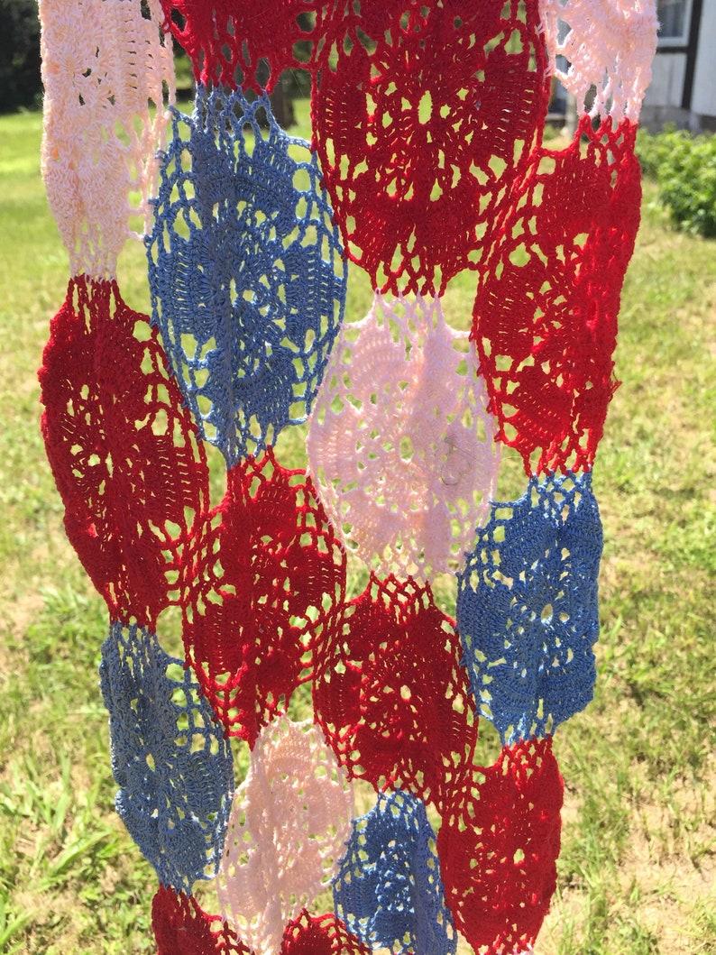 Table Runner Gift Ideas Hand Made Home Decor Lace Rectangle Deep Creek Shabby Decor Crocheted Red White Blue Lovely Linens