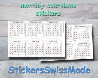 bullet journal stickers 2021 or 2022 - monthly overview - small black+white stickers for one year - monday or sunday start