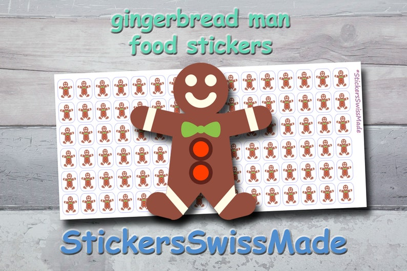 PLANNER STICKER gingerbread man food small colored icon for image 0