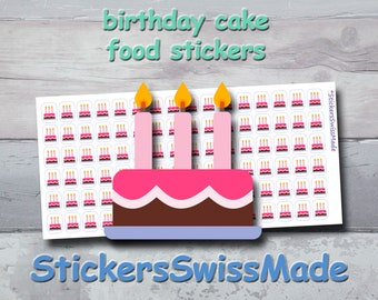 PLANNER STICKER    birthday cake    food    small colored icon   for your planner or bullet journal