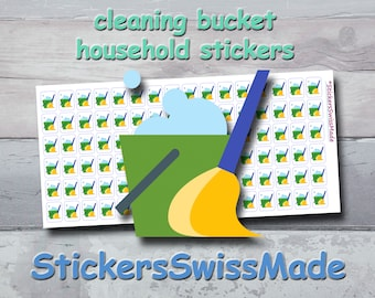 PLANNER STICKER    cleaning bucket    household    small colored icons   for your planner or bullet journal