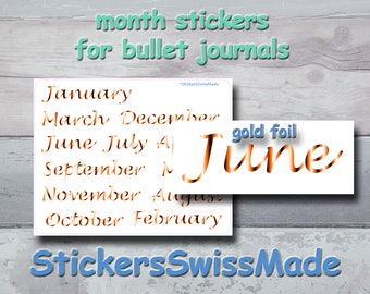 PLANNER STICKER    months January to December in english    gold foiled stickers   for your planners and bullet journals