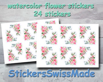 PLANNER STICKER    small flower watercolor stickers   corner stickers in rosé   for your planner or bullet journal