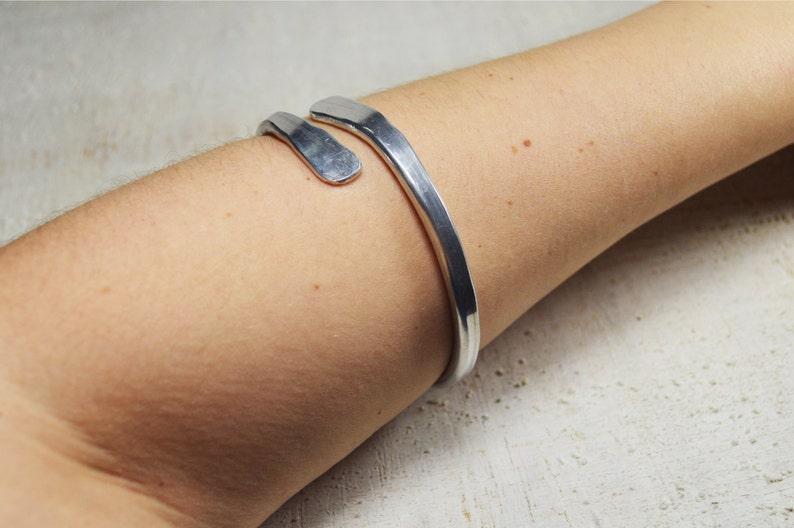 Bracelet aluminum metal simply Silver celtic Bracelet rocker Silver Aluminum wire bracelet armband shulder bracelet minimal minimalist rock