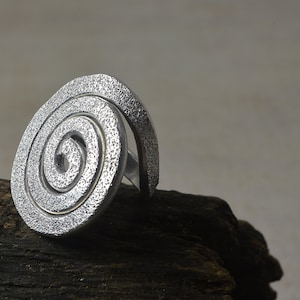 Ring hand drawn aluminum engraved jewelry silver adjustable designed spiral ethnic ring aluminium ring unique spiral doodle READY to SHIP