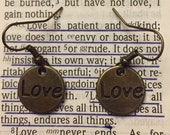 Love Earrings, Brass Tone Earrings, Love Jewelry, Casual Jewelry, Woman & Girls Jewelry, Women's Gifts, Girl's Gifts, Dangle Love Earrings,