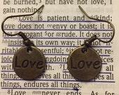 Love Earrings, Brass Tone Earrings, Love Jewelry, Casual Jewelry, Woman & Girls Jewelry, Women's Gifts, Girl's Gifts, Dangle Love Earrings,