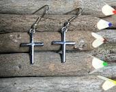 Cross Earrings, Silver Cross Earrings, Dangle Cross Earrings, Christian Cross, Women's Gifts, Christian Jewelry, Cross, Religeous Jewelry