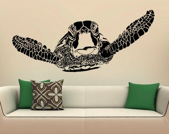 K-071 Back40life Sea Turtle Monogram with Name Vinyl Wall Decal
