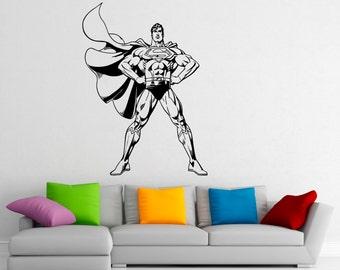 Superman Wall Decal Vinyl Stickers Comics Superhero Interior Home Design  Wall Art Murals Bedroom Decor (6su01n)