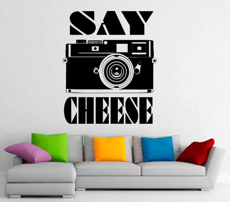 Camera Wall Decal Say Cheese Vinyl Stickers Photo Studio Interior Design Art Murals Housewares Bedroom Wall Decor 19p01o