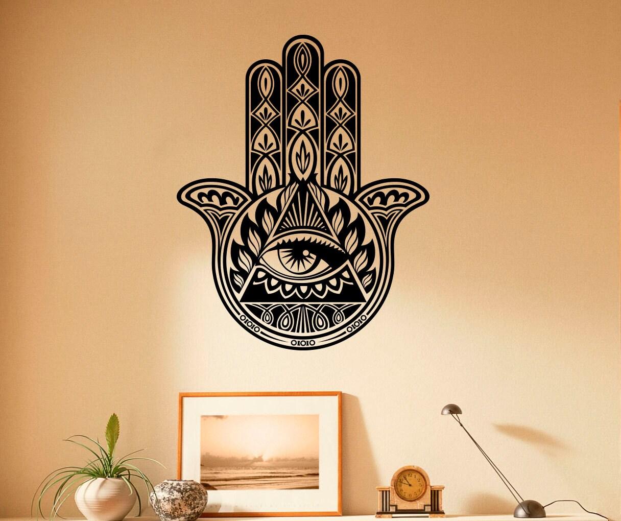 Wall Vinyl Decal Hamsa Hand Indian Pattern Vinyl Stickers   Etsy