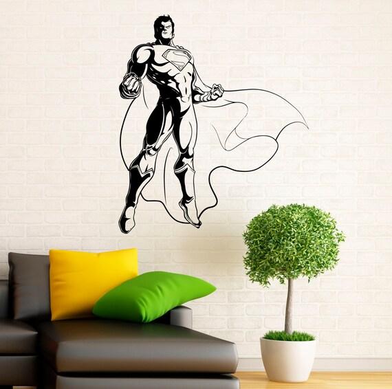 Superman Wall Decal Vinyl Stickers Comics Superhero Interior Home Design  Wall Art Murals Bedroom Decor (10su01n)